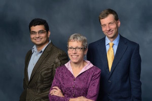 Aditya Prakash (left), Amy Nelson, and Tom Ewing are collaborators on the Russian flu project.