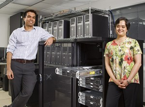 Dhruv Batra (left) and Devi Parikh (right) are developing Visual Question Answering Capability for computers. Visual machine perception requires powerful computation capability. The team shares 500- core CPU cluster, each an order of magnitude more powerful than a laptop, and a GPU cluster.